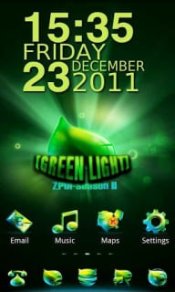 Green Light Clock For Android Theme Mobile Theme