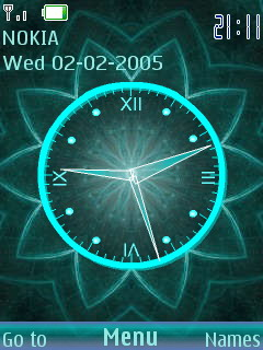 3D Digital Flower Clock S40 Theme Mobile Theme