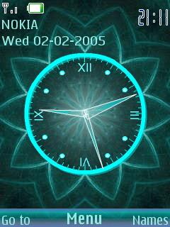 3D Digital Flower Clock S40 Theme Mobile Theme
