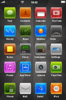 ICons & Dark View Apple IPhone Theme Mobile Theme