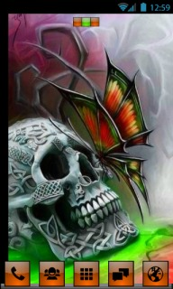 Skull On Face Butterfly For Android Theme Mobile Theme
