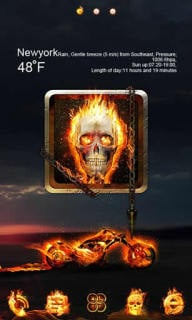 Skull Fire Bike For Android Theme Mobile Theme