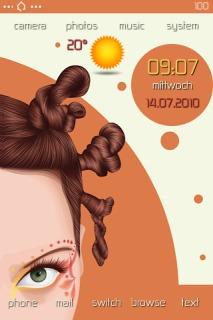 Girlie Hair Style Clock IPhone Theme Mobile Theme