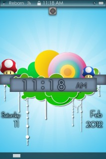Mushroom Colors Clock For IPhone Theme Mobile Theme