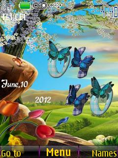 Butterflies 3D Nature Clock S40 Theme Mobile Theme
