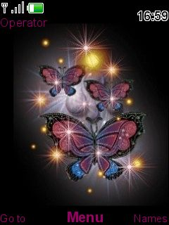 Colors Glowing Butterflies S40 Theme Mobile Theme