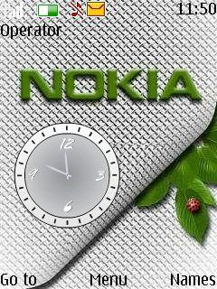 Silver Nokia Flash Clock S40 Theme Mobile Theme