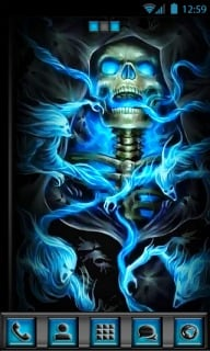 Skull Blue Fire 3D Android Theme Mobile Theme