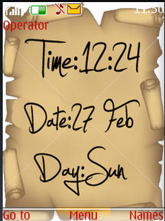 Old Paper Time Date Clock S40 Theme Mobile Theme