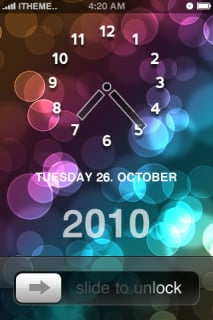 Bokeh Circles Clock Locked IPhone Theme Mobile Theme