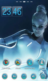 Light Blue Girl & Clock Android Theme Mobile Theme