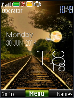 Railway Track Live Clock S40 Theme Mobile Theme