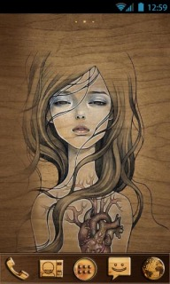 Sketch Wooden Girl For Android Theme Mobile Theme