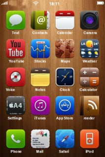 Wood Wall ICons IPhone Theme Mobile Theme