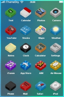 Lovely Blue & ICons IPhone Theme Mobile Theme