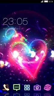 Neon 3D Heart Android Apk Theme Mobile Theme