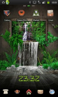 3d Waterfall Green Android Theme Mobile Theme
