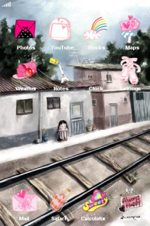 Railway Track Near Houses IPhone Theme Mobile Theme