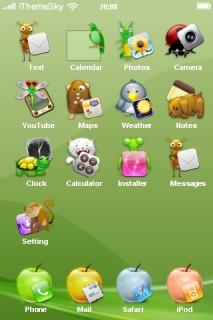 Green Ilumaca IPhone Theme Mobile Theme