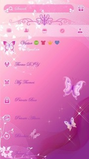 3D Pink Background Butterfly Android Theme Mobile Theme