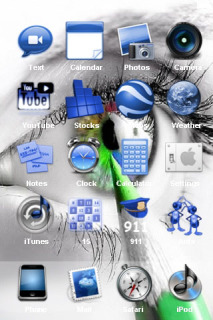 Green Eye And White Face Abstract IPhone Theme Mobile Theme