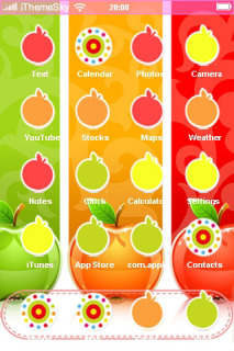 Colorful Background And Fresh Apples IPhone Theme Mobile Theme