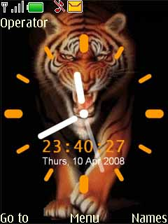 Tiger Clock Mobile Theme