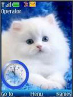 Swf White Cat Clock Mobile Theme