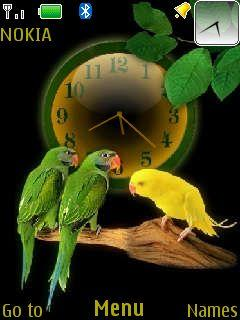 Parrots Clock Mobile Theme