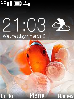 Red Fish Clock Mobile Theme