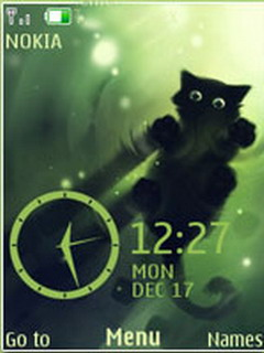 Kitty Black Clock S40 Theme Mobile Theme