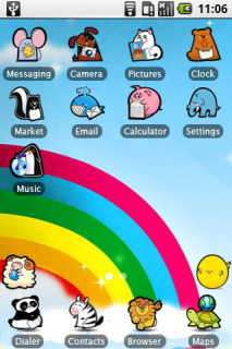 Animals & Rainbow Lines Android Theme Mobile Theme