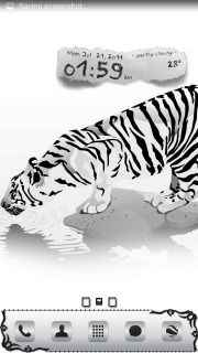 Tiger Drinking & Time Android Theme Mobile Theme