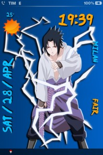 Sasuke Uchiha Clock IPhone Theme Mobile Theme