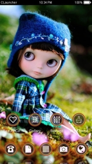 Cute Doll On Garden Android Theme Mobile Theme