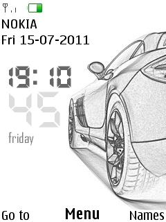 Porche Digital Clock Mobile Theme