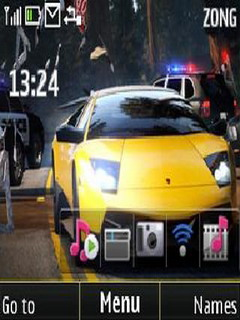 Yellow Car Speedy C3 & X2-01 Theme Mobile Theme