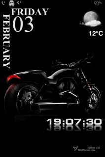 Motorcycle Dark & Clock IPhone Theme Mobile Theme