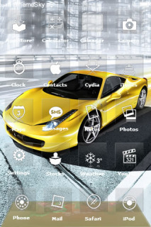 Yellow Car On Road IPhone Theme Mobile Theme