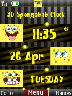 3D Spongbob Clock Mobile Theme