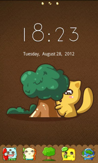 Cute Kitty Hide Tree For Android Theme Mobile Theme