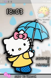 Cute Kitty Style Clock IPhone Theme Mobile Theme