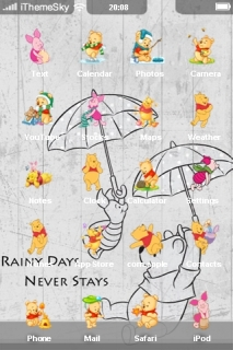 Winnie Pooh Rainy Day Never Stays IPhone Theme Mobile Theme