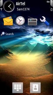 Mountains And Sunset Nokia S60 V5 Theme Mobile Theme