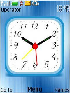 Blue Digital Glass Clock S40 Theme Mobile Theme