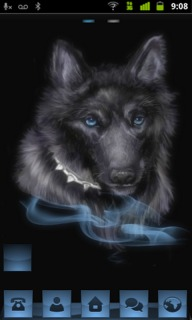 Black & Blue Wolf Android Theme Mobile Theme