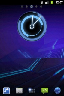 3D Blue HD Clock Android Theme Mobile Theme