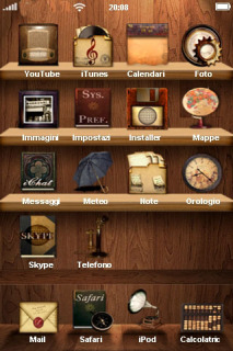 Wooden Bookshelf IPhone Theme Mobile Theme