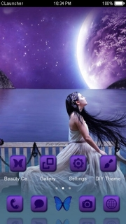 Monn Light Purple Space Girl Android Theme Mobile Theme