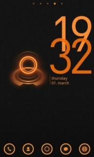 Yellow Circle Halo & Time Android Theme Mobile Theme